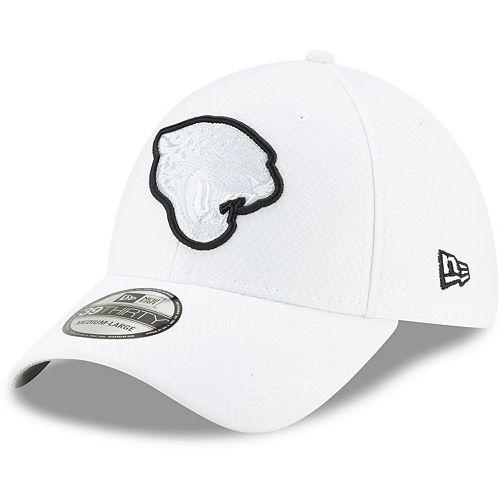 Men's New Era White Jacksonville Jaguars 2019 NFL Sideline Platinum 39THIRTY Flex Hat