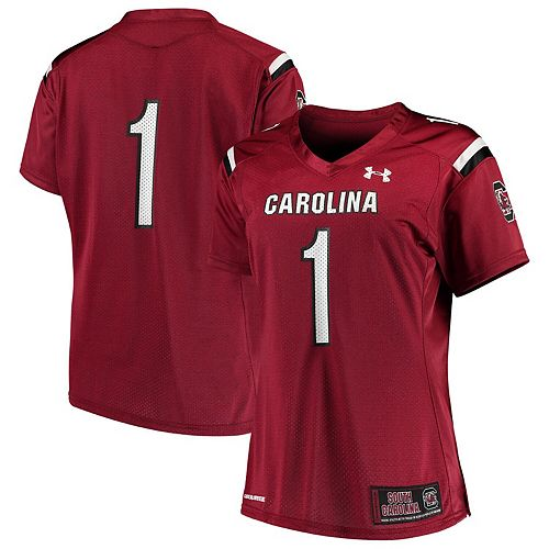 Women's Under Armour #1 Garnet South Carolina Gamecocks Finished Replica Team Jersey