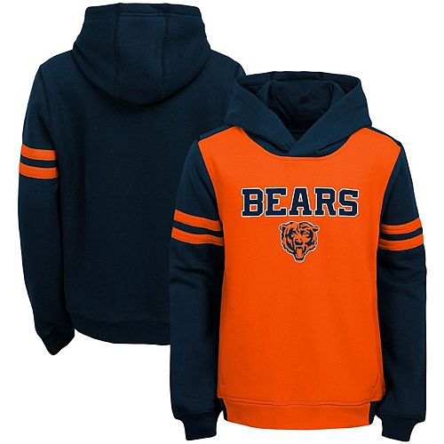 Youth Orange Chicago Bears Retro Colorblock Pullover Hoodie