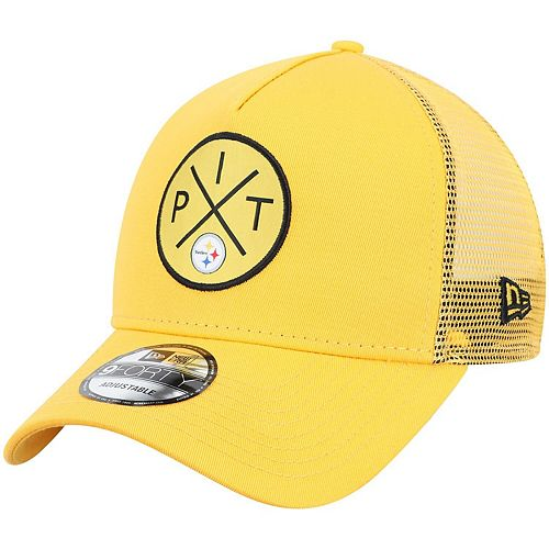 Men's New Era Gold Pittsburgh Steelers Quad A-Frame 9FORTY Trucker Adjustable Hat