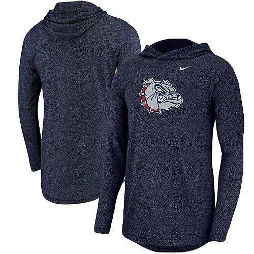 Men's Nike Heathered Navy Gonzaga Bulldogs Marled Long Sleeve Hooded T-Shirt
