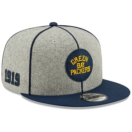 Men's New Era Heather Gray/Navy Green Bay Packers 2019 NFL Sideline Home Official Historic Logo 9FIFTY 1920s Snapback Adjustable Hat