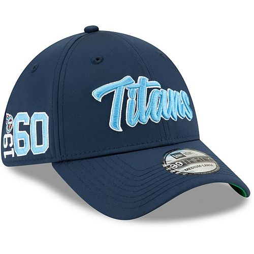 Men's New Era Navy Tennessee Titans 2019 NFL Sideline Home Official 39THIRTY 1960s Flex Hat