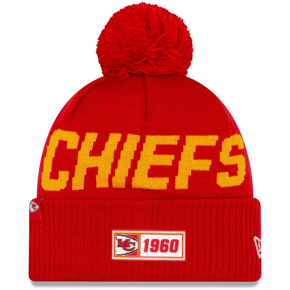 Youth New Era Red Kansas City Chiefs 2019 NFL Sideline Road Sport Knit Hat