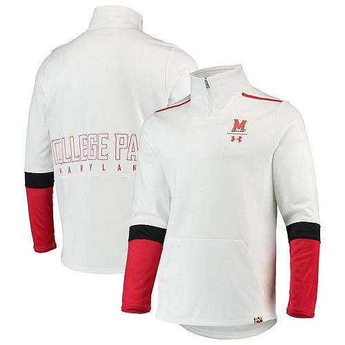 Men's Under Armour White Maryland Terrapins Logo Quarter-Zip Jacket