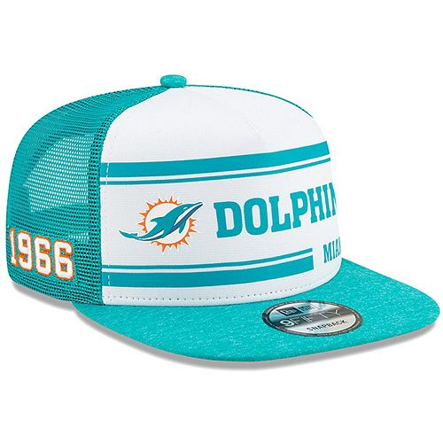 Men's New Era White/Aqua Miami Dolphins 2019 NFL Sideline Home Official 9FIFTY 1970s Snapback Adjustable Hat