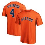 Men's Majestic George Springer Orange Houston Astros Logo Official Name & Number T-Shirt