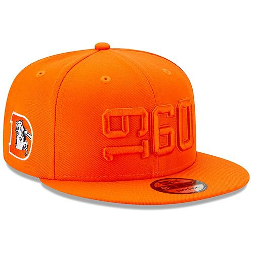 Youth New Era Orange Denver Broncos 2019 NFL Sideline Color Rush Historic 9FIFTY Adjustable Snapback Hat