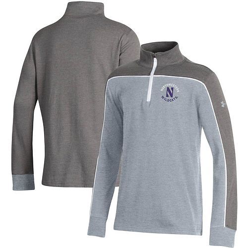 Youth Under Armour Heathered Gray Northwestern Wildcats Tri-Color Quarter-Zip Pullover Jacket