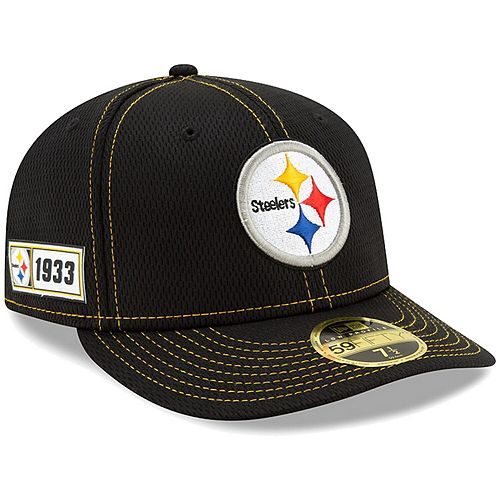 Men's New Era Black Pittsburgh Steelers 2019 NFL Sideline Road Official Low Profile 59FIFTY Fitted Hat