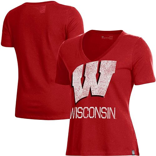 Women's Under Armour Red Wisconsin Badgers Logo Performance V-Neck T-Shirt