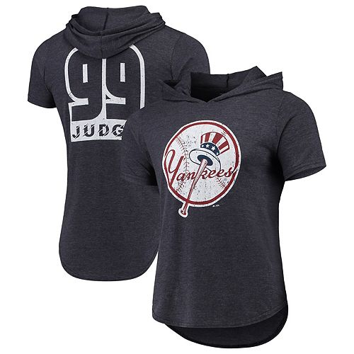 Aaron Judge New York Yankees Majestic Threads Softhand Short Sleeve Player Hooded T-Shirt - Navy
