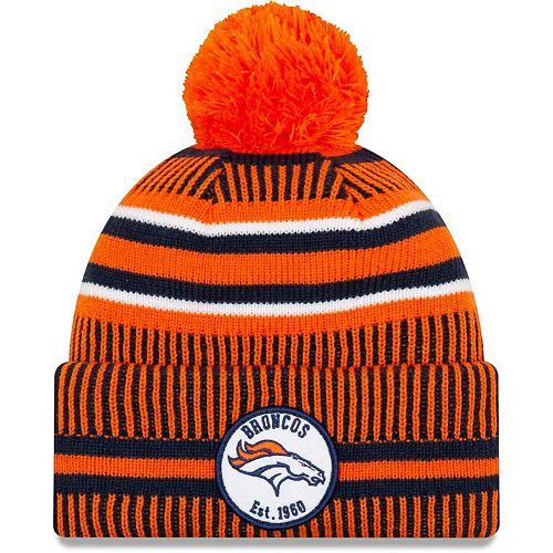 Youth New Era Orange/Navy Denver Broncos 2019 NFL Sideline Home Sport Knit Hat