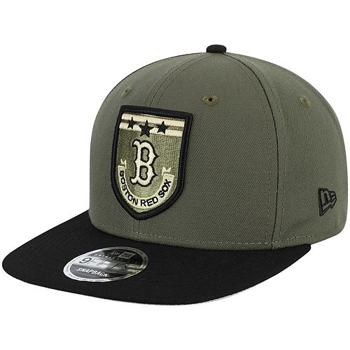 Men's New Era Green Boston Red Sox Army Patch 9FIFTY Adjustable Hat