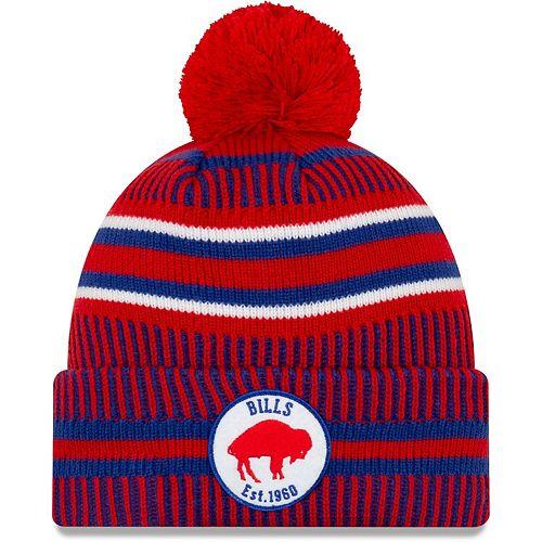 Men's New Era Red/Royal Buffalo Bills 2019 NFL Sideline Home Reverse Historic Sport Knit Hat
