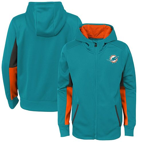 Youth Aqua Miami Dolphins Connected Performance Full-Zip Hoodie