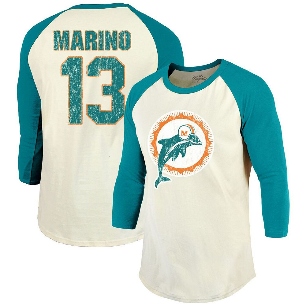 Dan Marino Miami Dolphins Majestic Threads Vintage Inspired Player Name & Number 3/4-Sleeve Raglan T-Shirt - Cream/Aqua
