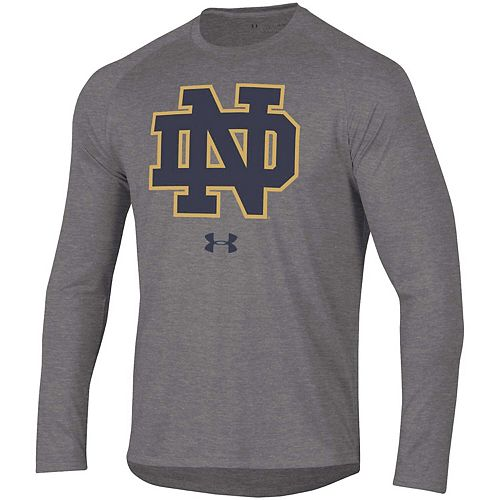 Men's Under Armour Heathered Charcoal Notre Dame Fighting Irish School Logo Tech 2.0 Performance Long Sleeve T-Shirt