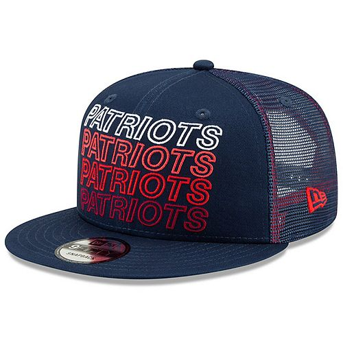 Men's New Era Navy New England Patriots Team Repeated 9FIFTY Snapback Adjustable Hat