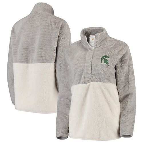 Women's Gray/Cream Michigan State Spartans Fuzzy Fleece Colorblocked Four-Snap Pullover Jacket