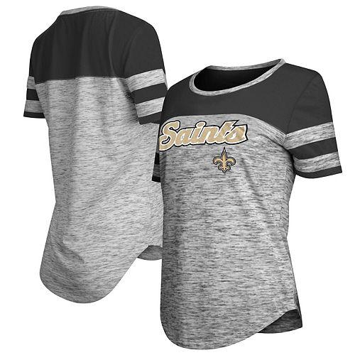 Women's New Era Black New Orleans Saints Glitter Gel T-Shirt