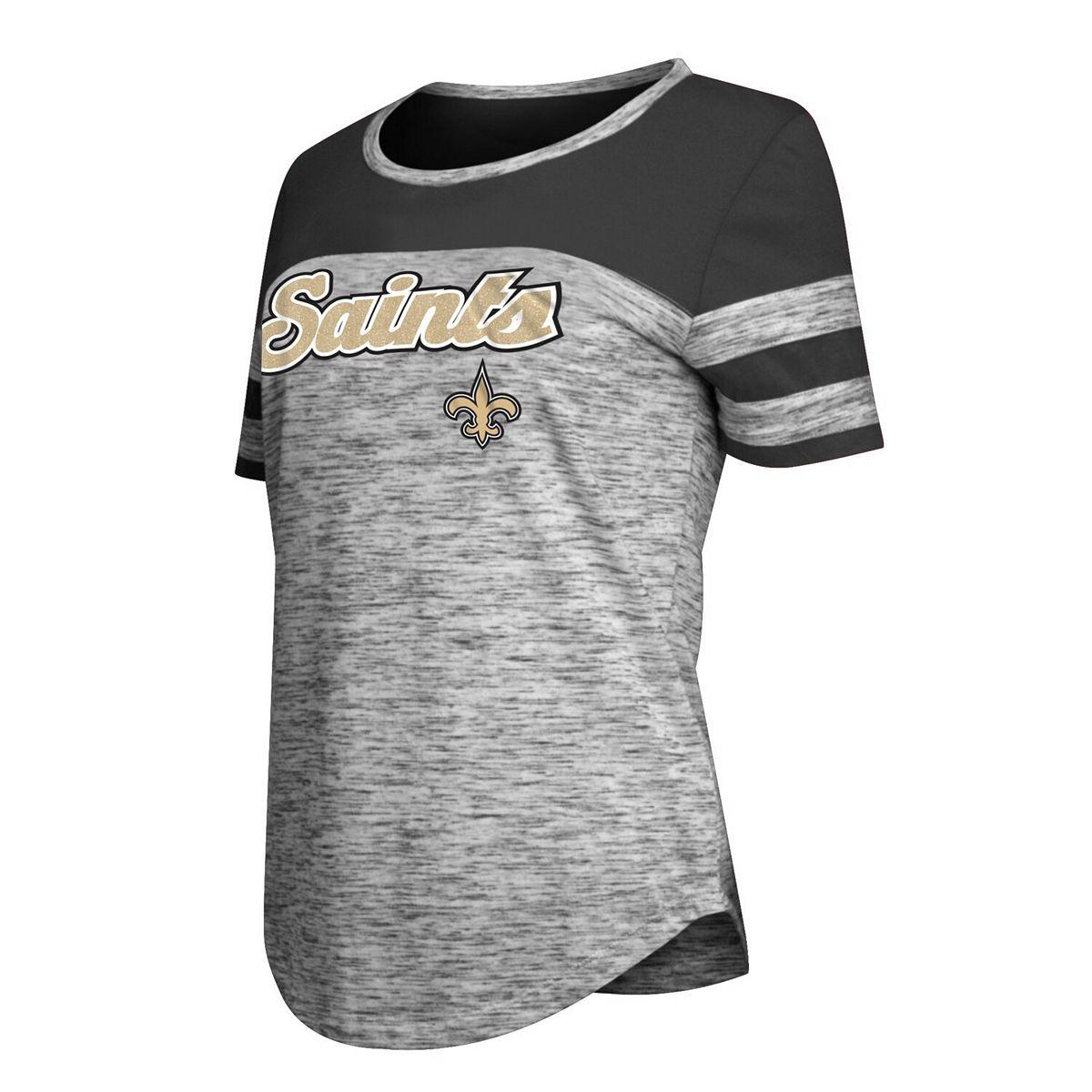 Women's New Era Black New Orleans Saints Glitter Gel T-Shirt pCTvK