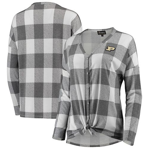 Women's Gray/White Purdue Boilermakers Check Your Facts Plaid Button-Up Long Sleeve Shirt