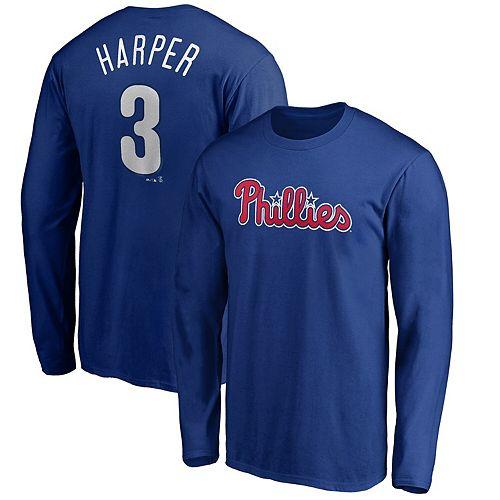 Bryce Harper Philadelphia Phillies Majestic Long Sleeve Name & Number T-Shirt - Royal