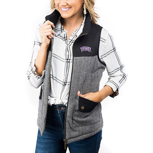Women's Black TCU Horned Frogs Prep For It Herringbone Knit Full-Zip Vest