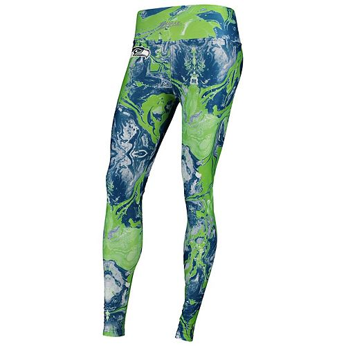 Women's Zubaz College Navy Seattle Seahawks Swirl Leggings