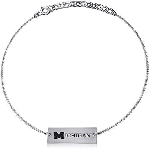 Women's Dayna Designs Silver Michigan Wolverines Coordinates Bar Bracelet