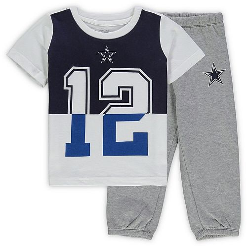 Preschool & Toddler White/Heathered Gray Dallas Cowboys Vista T-Shirt & Sweatpants Set