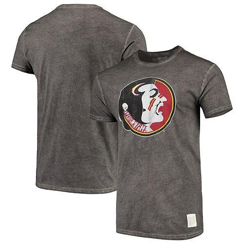Men's Original Retro Brand Black Florida State Seminoles Vintage School Logo Oil Wash T-Shirt