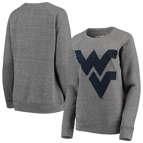 Women's Pressbox Heathered Gray West Virginia Mountaineers Big Team Logo Knobi Fleece Tri-Blend Crew Neck Sweatshirt