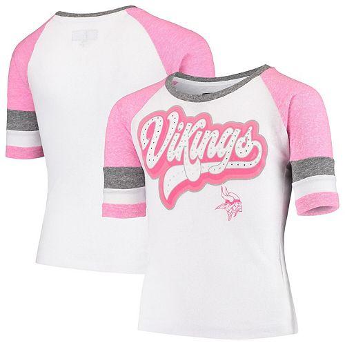 Youth New Era White Minnesota Vikings Rhinestone Tri-Blend 3/4-Sleeve Raglan T-Shirt