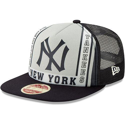 Men's New Era Navy New York Yankees Heritage Banner A-Frame Trucker 9FIFTY Snapback Hat