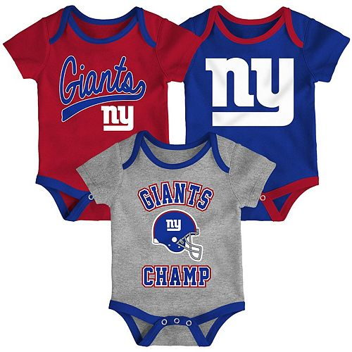 Infant Red/Royal/Heathered Gray New York Giants Champ 3-Piece Bodysuit Set