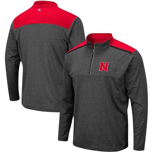 Men's Colosseum Heathered Charcoal Nebraska Cornhuskers Big & Tall Snowball Quarter-Zip Pullover Jacket
