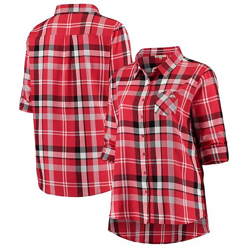 Women's Scarlet Ohio State Buckeyes Plus Size Missy Boyfriend Plaid Flannel Button-Up Long Sleeve Shirt