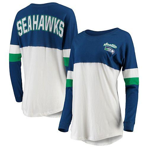 Women's New Era Royal/White Seattle Seahawks Athletic Historic Varsity Long Sleeve T-Shirt