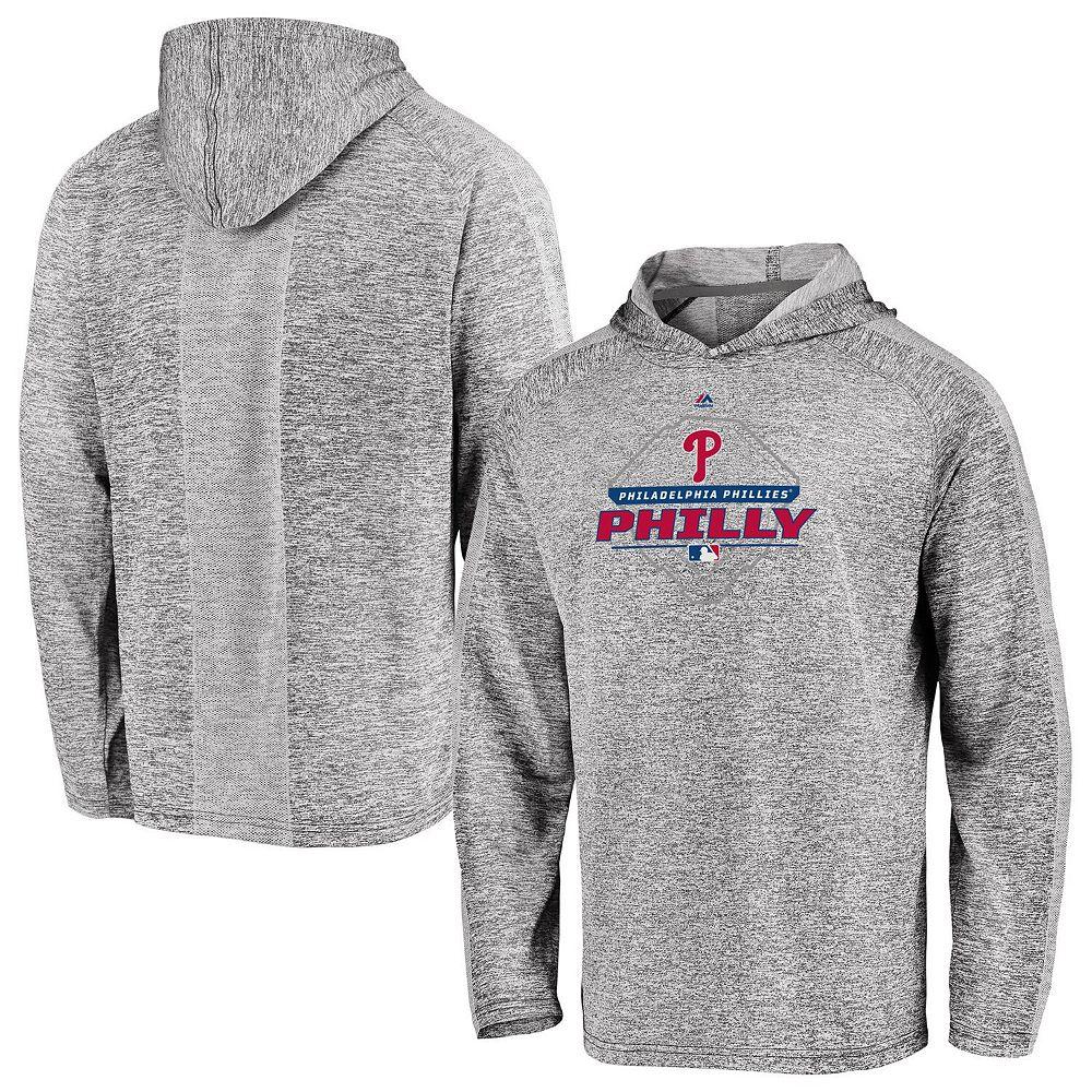 Men's Majestic Gray Philadelphia Phillies Authentic Midseason Cool Base Pullover Hoodie