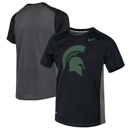 Youth Nike Black Michigan State Spartans Miler Performance T-Shirt