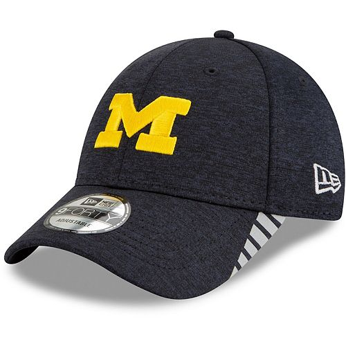Men's New Era Navy Michigan Wolverines Visor Trim 9FORTY Adjustable Hat