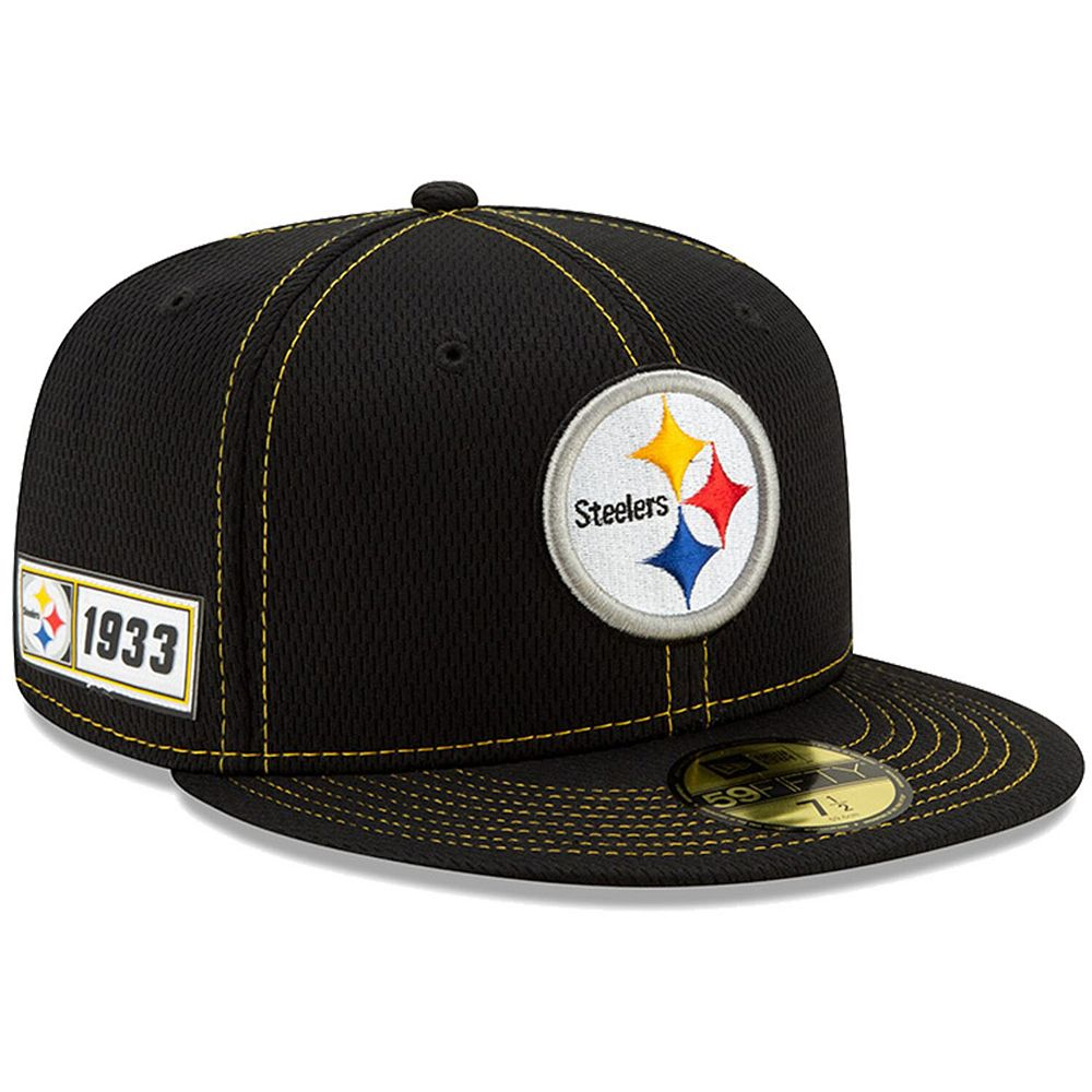 Men's New Era Black Pittsburgh Steelers 2019 NFL Sideline Road Official 59FIFTY Fitted Hat