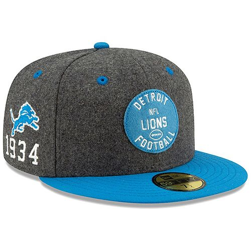 Men's New Era Heather Charcoal/Blue Detroit Lions 2019 NFL Sideline Home Official 59FIFTY 1930s Fitted Hat