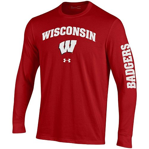 Men's Under Armour Red Wisconsin Badgers Arched Two-Hit Performance Long Sleeve T-Shirt