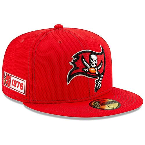 Men's New Era Red Tampa Bay Buccaneers 2019 NFL Sideline Road Official 59FIFTY Fitted Hat