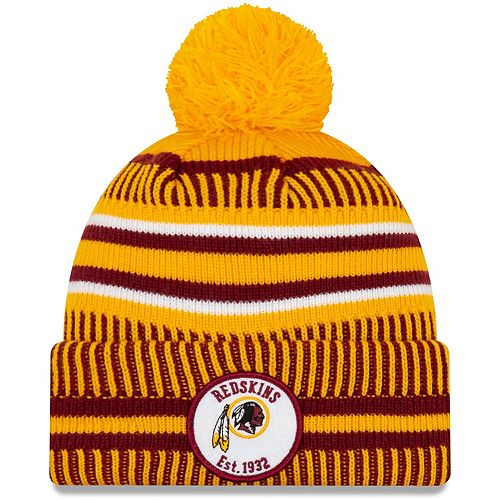 Youth New Era Gold Washington Redskins 2019 NFL Sideline Home Reverse Sport Knit Hat
