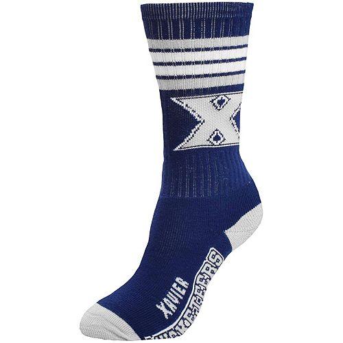 Women's For Bare Feet Xavier Musketeers 4-Stripe Deuce Crew Socks