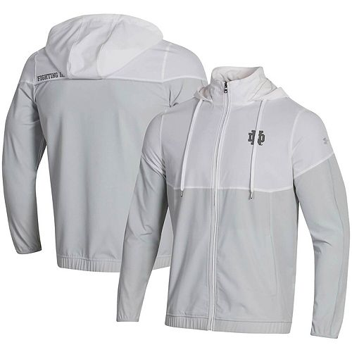 Men's Under Armour White Notre Dame Fighting Irish Woven Warmup Full-Zip Jacket